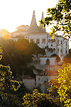 A view of the Royal Palace in Sintra, Portugal at sunset.