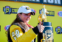 Nov 17, 2019; Pomona, CA, USA; NHRA pro stock driver Erica Enders celebrates after clinching the 2019 top fuel world championship during the Auto Club Finals at Auto Club Raceway at Pomona. Mandatory Credit: Mark J. Rebilas-USA TODAY Sports