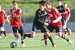 Palos Verdes, CA 02/03/12 - Charles Chae (Peninsula #9) and Daniel Malikyar (Palos Verdes #28) in action during the Peninsula vs Palos Verdes boys varsity soccer game.