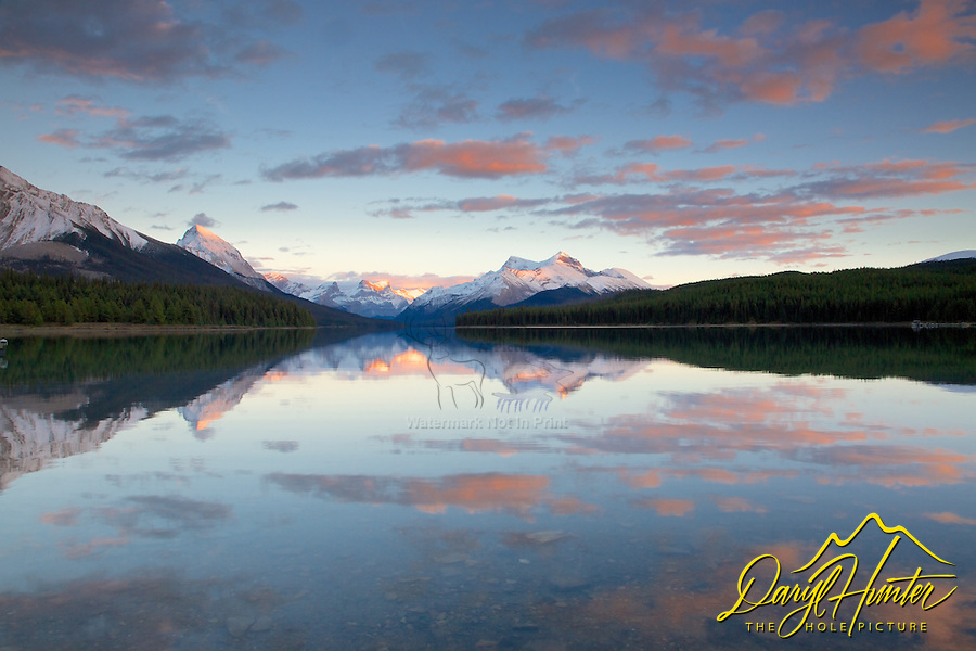 Sunset at Malingne Lake in Jasper National Park