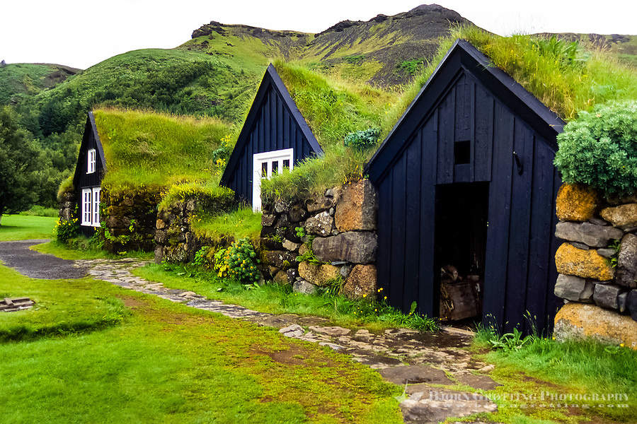 Iceland. Skógar is a small village located at the south of the Eyjafjallajökull glacier.  The folk museum, Skógasafn.