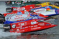 2nd heat, Shaun Torrente (#42), Tim Seebold (#16), Chris Fairchild (#62), Jose Mendana (#21), Jeff Shepherd (#38), Lynn Simberger (#72) and Mark Johnson (#18)   (Formula 1/F1/Champ class)