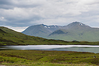 UK, Scotland,June 2012.Stark area on Rannoch Moor. Ski fields in the hills...Photo Kees Metselaar