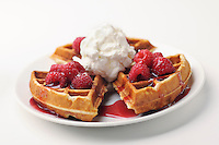 Raspberry Waffle with whip cream