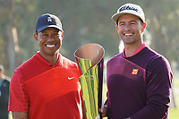 Adam Scott (AUS) and Tiger Woods (USA) pose with the trophy after the final round of the The Genesis Invitational, Riviera Country Club, Pacific Palisades, Los Angeles, USA. 16/02/2020<br /> Picture: Golffile | Phil Inglis<br /> <br /> <br /> All photo usage must carry mandatory copyright credit (© Golffile | Phil Inglis)
