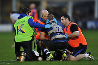 Ross Batty of Bath Rugby is treated for an injury during a break in play. Aviva Premiership match, between Bath Rugby and Worcester Warriors on December 27, 2015 at the Recreation Ground in Bath, England. Photo by: Patrick Khachfe / Onside Images