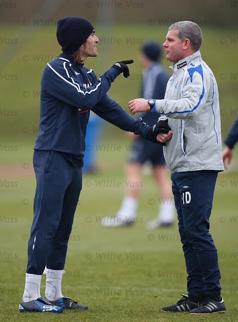Ian Durrant points the fingers at Pedro Mendes at training