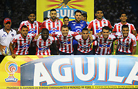 BARRANQUILLA  - COLOMBIA, 11-04-2018: Formación del Atlético Junior contra el Indepemdiente Santa Fe durante partido por la fecha 14 de la Liga Águila I 2018 jugado en el estadio Metropolitano Roberto Meléndez de la ciudad de Barranquilla. / Team of Atletico Junior agaisnt Independiente Santa Fe  during match for the date 14 of the Aguila League I 2018 played at Metropolitano Roberto Melendez stadium in Barranquilla  city. Photo: VizzorImage/Alfonso Cervantes /Cont