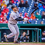 15 April 2018: Colorado Rockies catcher Chris Iannetta at bat in the 4th inning against the Washington Nationals at Nationals Park in Washington, DC. All MLB players wore Number 42 to commemorate the life of Jackie Robinson and to celebrate Black Heritage Day in pro baseball. The Rockies edged out the Nationals 6-5 to take the final game of their 4-game series. Mandatory Credit: Ed Wolfstein Photo *** RAW (NEF) Image File Available ***