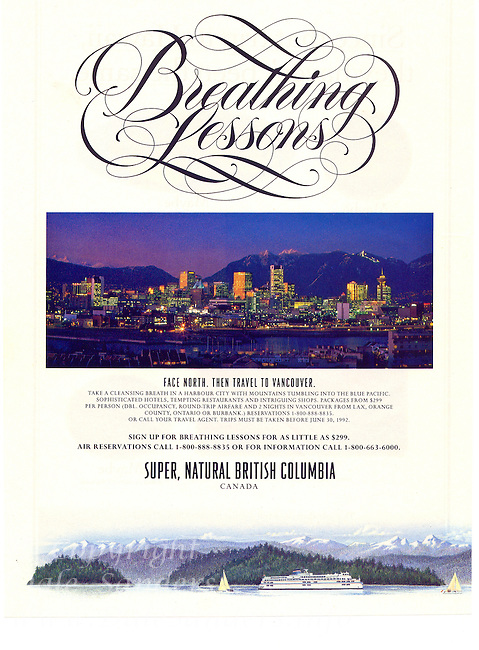 Tourism British Columbia Magazine Ad with image of Vancouver and the North Shore Mountains at dusk.
