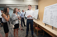 """Synthesis of Furanolactone Motifs by Photoredox and Lewis Acid Catalyzed Ketyl Radical Cyclization"" by Paul Tomlinson<br /> (Mentor: Jeffrey Cannon, Chemistry)<br /> Occidental College's Undergraduate Research Center hosts their annual Summer Research Conference, Aug. 1, 2018. Student researchers presented their work as either oral or poster presentations at the final conference. The program lasts 10 weeks and involves independent research in all departments.<br /> (Photo by Marc Campos, Occidental College Photographer)"