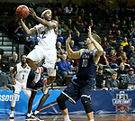 SIOUX FALLS, SD - MARCH 20: Jalin Alexander #2 from Queens University looks to pass the ball away from the defense of Jason Todd #10 from Cal Baptist during their quarterfinal game at the 2018 Elite Eight Men's NCAA DII Basketball Championship at the Sanford Pentagon in Sioux Falls, SD. (Photo by Dave Eggen/Inertia)