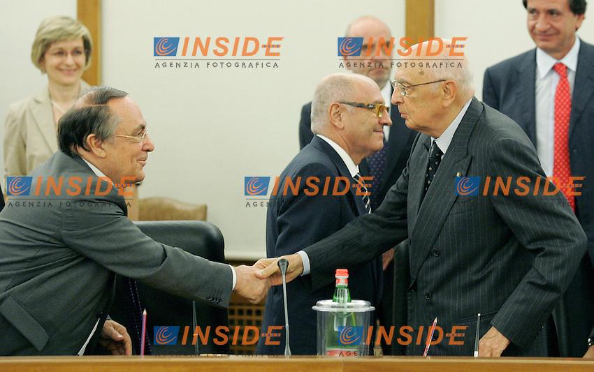 Il Presidente della Repubblica Giorgio Napolitano e Guido Calvi.CSM - Consiglio Superiore della Magistratura (Plenum) .Nomina del Vice Presidente.Roma, 2 Agosto 2010.Photo Serena Cremaschi Insidefoto