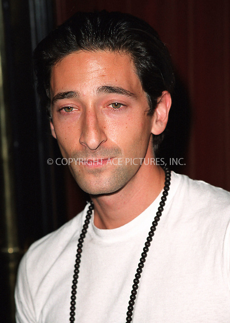 Adrien Brody attending a party celebration of the first anniversary of his club Man Ray. New York, July 10, 2002. Please byline: Alecsey Boldeskul/NY Photo Press.   ..*PAY-PER-USE*      ....NY Photo Press:  ..phone (646) 267-6913;   ..e-mail: info@nyphotopress.com
