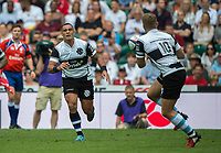 Twickenham, Surrey, United Kingdom. Kahn FOTUALI'I, passes the ball to Ian MADIGAN,  during the Old Mutual Wealth Cup, England vs Barbarian's match, played at the  RFU. Twickenham Stadium, on Sunday   28/05/2017England    <br /> <br /> [Mandatory Credit Peter SPURRIER/Intersport Images]