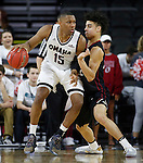 SIOUX FALLS, SD: MARCH 6: Tre'Shawn Thurman #15 of Omaha drives on D.J. McCall #22 of IUPUI during the Summit League Basketball Championship on March 6, 2017 at the Denny Sanford Premier Center in Sioux Falls, SD. (Photo by Dick Carlson/Inertia)