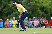 28th May 2017, Fort Worth, Texas, USA; Jordan Spieth reacts to his putt on #3 during the final round of the PGA Dean & Deluca Invitational at Colonial Country Club in Fort Worth, TX.