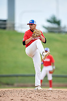 Paul Bergstrom (15) delivers a pitch during the Dominican Prospect League Elite Underclass International Series, powered by Baseball Factory, on July 21, 2018 at Schaumburg Boomers Stadium in Schaumburg, Illinois.  (Mike Janes/Four Seam Images)