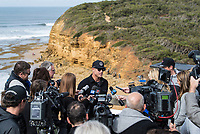 BELLS BEACH,  Torquay, Victoria AUS (Tuesday, March 27, 2018)  Mick Fanning (AUS dealing with the press during the opening ceremony for the Rip Curl Pro. - The second stop on the World Surf League (WSL) Championship Tour (CT) starts tomorrow with the annual Rip Curl Pro Bells Beach competition celebrating its 57th year. As is tradition, the event will run from March 28 to April 8, over the Easter Weekend at one of the world&rsquo;s most iconic surfing locations. <br /> <br /> This year&rsquo;s event will be bittersweet as it will be the last CT event the three-time WSL Champion, Mick Fanning (AUS), will compete in as a full time CT competitor. The four-time event winner will look to end his competitive career the way that it started in 2001, with a win at the Rip Curl Pro Bells Beach ringing the coveted Bell. Fanning will match-up with Sebastian Zietz (HAW) and 2018 CT Rookie Jesse Mendes (BRA) in Round 1 Heat 12 when the competition gets underway. <br /> <br /> Photo: joliphotos.com