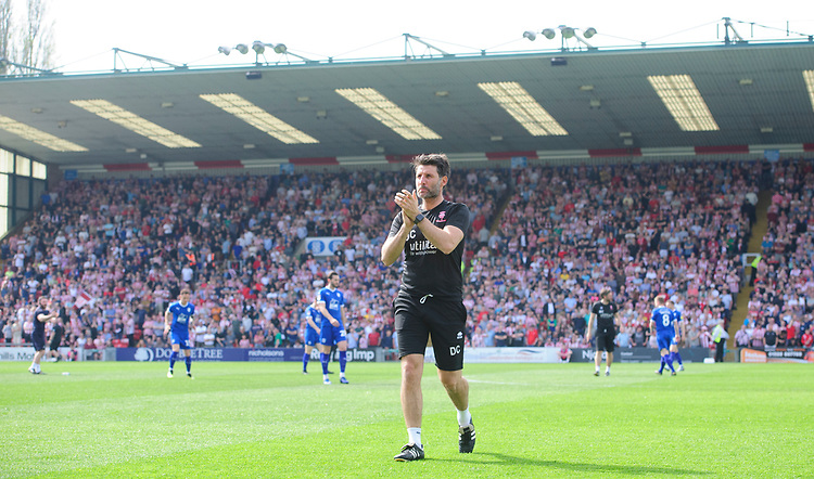 Lincoln City manager Danny Cowley applauds the fans before the game<br /> <br /> Photographer Chris Vaughan/CameraSport<br /> <br /> The EFL Sky Bet League Two - Lincoln City v Tranmere Rovers - Monday 22nd April 2019 - Sincil Bank - Lincoln<br /> <br /> World Copyright © 2019 CameraSport. All rights reserved. 43 Linden Ave. Countesthorpe. Leicester. England. LE8 5PG - Tel: +44 (0) 116 277 4147 - admin@camerasport.com - www.camerasport.com
