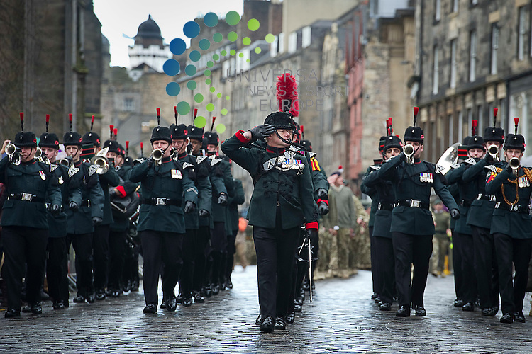 3rd Battalion The Rifles (3 Rifles) who have recently returned from Afghanistan parade down the Royal Mile and are the first English battalon to be granted the freedom of the city of Edinburgh, Edinburgh, Scotland, 3rd November 2012..Picture:Scott Taylor Universal News And Sport (Europe) .All pictures must be credited to www.universalnewsandsport.com. (Office)0844 884 51 22.