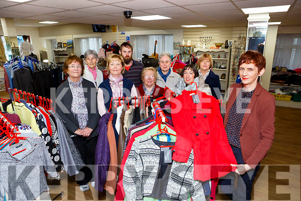 CAtherine Hussey Shop manager with the St Vincent de Paul shop in Killarney is appealing for volunteers to help run the shop back row l-r: Mary Spillane, Maura McCarthy, Maureen Cronin,Dominick Foran, Mary Clifford, Mary Murray, Emer O'Mahony and Kathleen O'Connell