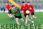 Fossa's Tadhg O'Shea and Beale's Johnny O'Sullivan in the Castleisland Mart Junior Club Football Championship Final Replay Beale V Fossa at Austin Stack Park on Sunday
