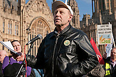 Agricultural worker Steve Leniec, Unite, address a joint union lobby of Parliament over the Public Bodies Bill, Westminster, London.