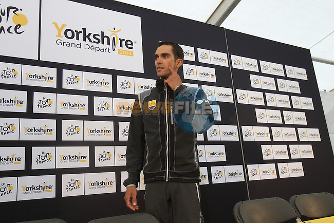 Alberto Contador (ESP) Tinkoff-Saxo arrives for press conference before the Grand Depart of the 2014 Tour de France. 4th July 2014.<br /> Picture: Eoin Clarke www.newsfile.ie