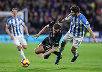 Burnley's Chris Wood competing with Huddersfield Town's Christopher Schindler<br /> <br /> Photographer Andrew Kearns/CameraSport<br /> <br /> The Premier League - Huddersfield Town v Burnley - Wednesday 2nd January 2019 - John Smith's Stadium - Huddersfield<br /> <br /> World Copyright © 2019 CameraSport. All rights reserved. 43 Linden Ave. Countesthorpe. Leicester. England. LE8 5PG - Tel: +44 (0) 116 277 4147 - admin@camerasport.com - www.camerasport.com