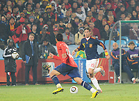 Sergio Ramos looks for an opening to cross the ball. Spain won Group H following a 2-1 defeat of Chile in Pretoria's Loftus Versfeld Stadium, Friday, June 25th, at the 2010 FIFA World Cup in South Africa..