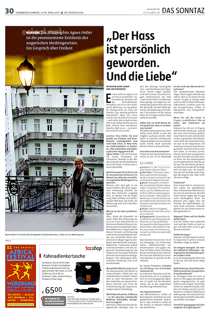 "German daily ""die tageszeitung""<br /> 2011, April 9<br /> <br /> Philosopher Agnes Heller,<br /> Budapest, Hungary<br /> <br /> Photos by Martin Fejer/EST&OST"