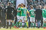 13.04.2019, Weserstadion, Bremen, GER, 1.FBL, Werder Bremen vs SC Freiburg<br /> <br /> DFL REGULATIONS PROHIBIT ANY USE OF PHOTOGRAPHS AS IMAGE SEQUENCES AND/OR QUASI-VIDEO.<br /> <br /> im Bild / picture shows<br /> Siegjubel, Milos Veljkovic (Werder Bremen #13), Stefanos Kapino (Werder Bremen #27), Niklas Moisander (Werder Bremen #18), <br /> <br /> Foto &copy; nordphoto / Ewert