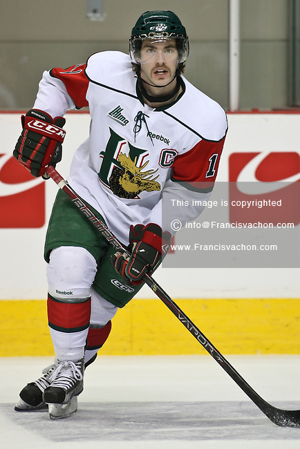 QMJHL (LHJMQ) hockey profile photo on Halifax Mooseheads Cameron Critchlow November 19, 2011 at the Colisee Pepsi in Quebec city.