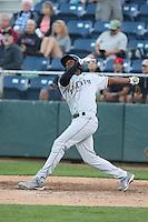 Denzel Richardson #24 of the Tri-City Dust Devils bats against the Everett AquaSox at Everett Memorial Stadium on July 29, 2014 in Everett, Washington. Everett defeated Tri-City, 7-5. (Larry Goren/Four Seam Images)