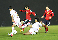 Kevin Mbabu fouls Aghvan Papikyan in the Armenia v Switzerland UEFA European Under-19 Championship Qualifying Round match at New Douglas Park, Hamilton on 11.10.12...2 booking