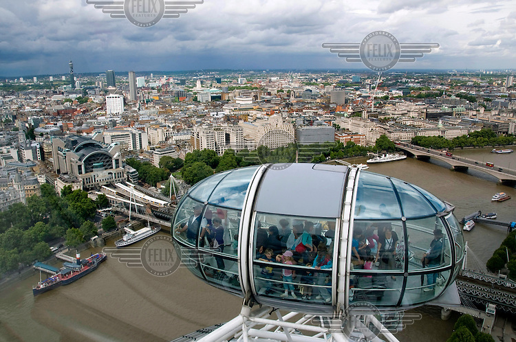 View from the London Eye, a popular tourist attraction, overlooking North London.