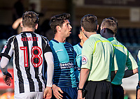 Animated Joe Jacobson of Wycombe Wanderers having words with the Referee Ross Joyce during the Sky Bet League 2 match between Wycombe Wanderers and Notts County at Adams Park, High Wycombe, England on the 25th March 2017. Photo by Liam McAvoy.