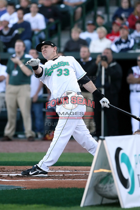 June 16th 2008:  Ian Gac of the Clinton Lumberkings, Class-A affiliate of the Texas Rangers, during the Midwest League All-Star Home Run Derby at Dow Diamond in Midland, MI.  Photo by:  Mike Janes/Four Seam Images