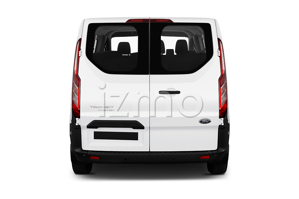 Straight rear view of 2018 Ford Transit-Custom Trend 4 Door Passanger Van Rear View  stock images