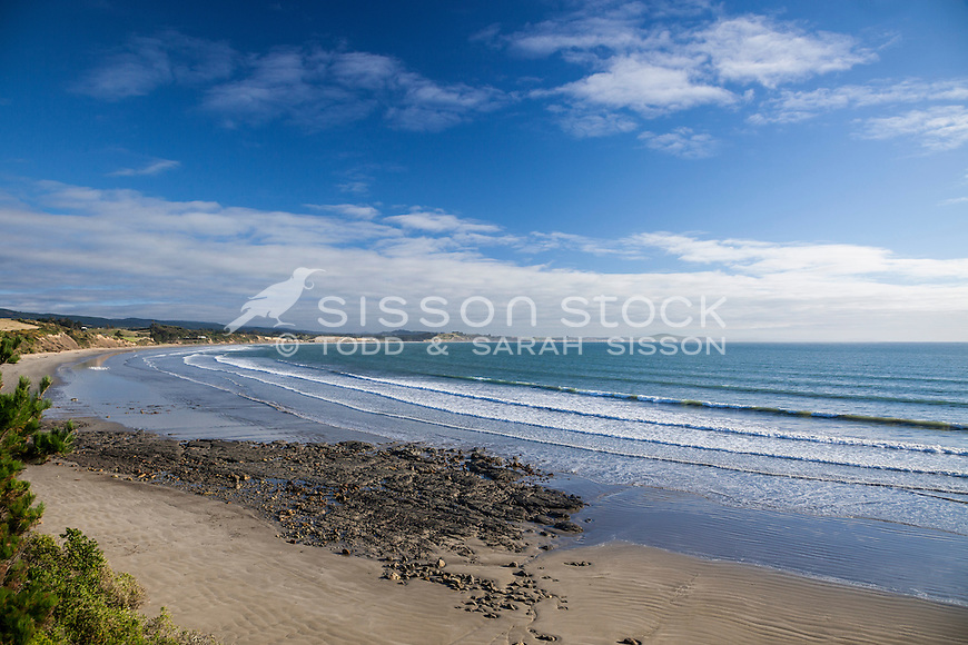 Looking down onto Moeraki Beach towards the Moeraki Boulders, Otago, New Zealand - stock photo, canvas, fine art print