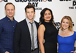 """John Sanders, Andy Karl, Barrett Doss and Rebecca Faulkenberry attends the """"Groundhog Day'' press day at The New 42nd Street Studios on February 2, 2017 in New York City."""