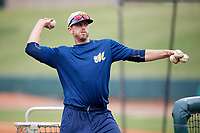 Montgomery Biscuits manager Brady Williams (22) throws batting practice before a game against the Mississippi Braves on April 24, 2017 at Montgomery Riverwalk Stadium in Montgomery, Alabama.  Montgomery defeated Mississippi 3-2.  (Mike Janes/Four Seam Images)
