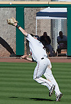 Reno Aces second baseman Taylor Harbin makes the catch in shallow center field against the Sacramento River Cats during their play off game played on Sunday afternoon, September 9, 2012 in Reno, Nevada.