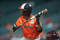 Darien Simms (4) of the Sam Houston State Bearkats at bat against the Mississippi State Bulldogs during game eight of the 2018 Shriners Hospitals for Children College Classic at Minute Maid Park on March 3, 2018 in Houston, Texas. The Bulldogs defeated the Bearkats 4-1.  (Brian Westerholt/Four Seam Images)