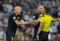 Andrea Raggi (24) of Monaco & Kamil Glik (25) of Monaco complain to the referee during the UEFA Champions League Group stage match between Tottenham Hotspur and Monaco at White Hart Lane, London, England on 14 September 2016. Photo by Andy Rowland.