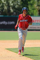 Lakewood BlueClaws outfielder Mickey Moniak (22) running the bases during a game against the Charleston RiverDogs  on May 3, 2017 at Joseph P. Riley Ballpark in Charleston, South Carolina. Lakewood defeated Charleston 10-6. (Robert Gurganus/Four Seam Images)