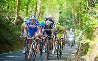 race leaders Bjorn Leukemans (BEL/Wanty-GroupeGobert), Simon Gerrans (AUS/Orica-GreenEDGE) &amp; co up the Hagaard hill<br /> <br /> Brabantse Pijl 2014