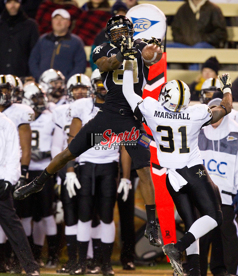 Javon Marshall (31) of the Vanderbilt Commodores breaks up a pass intended for Terence Davis (81) of the Wake Forest Demon Deacons at BB&T Field on November 24, 2012 in Winston-Salem, North Carolina.  The Commodores defeated the Demon Deacons 55-21.  (Brian Westerholt/Sports On Film)