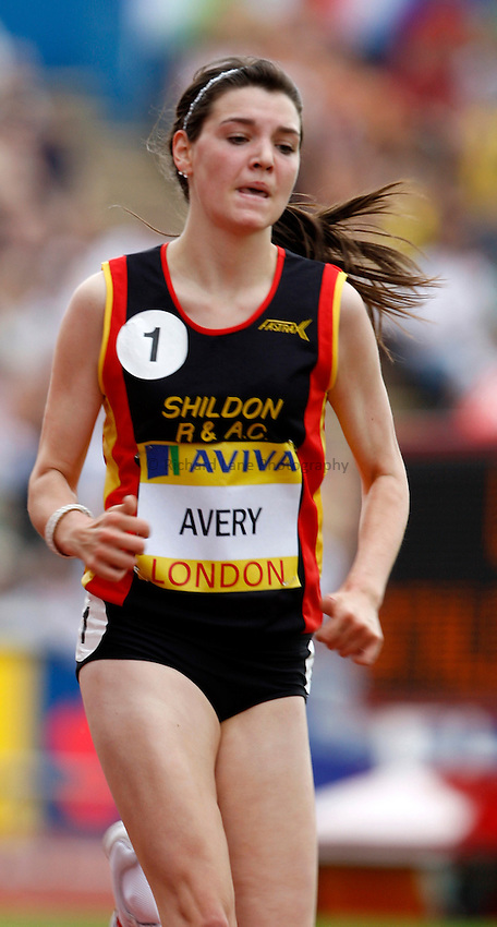 Photo: Richard Lane/Richard Lane Photography. .Aviva London Grand Prix, Crystal Palace. 26/07/2008. Great Britain's Katie Avery in the Women's 3000m Under 20.